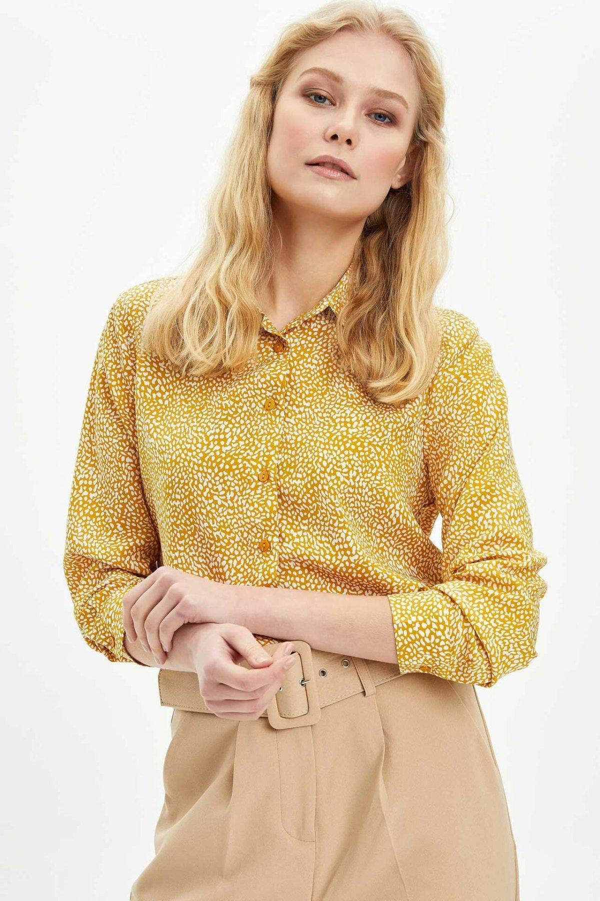 DeFacto Woman Spring Top Shirts Women Chic Yellow Shirts Lady Striped Floral Shirts Female Long Sleeve Shirt-I8266AZ20SP