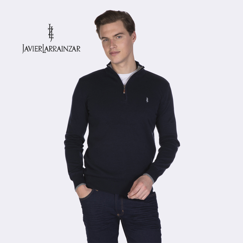 Javier Larrainzar-Cardigan JL19003-Cardigan For Men Sleeve Long With Neck Collar With Close's Zipper Length