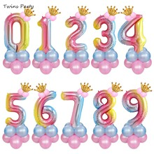 Twins Party 14Pcs Birthday Balloons Rainbow Number Foil 1 2 3 4 5 6 7 8 9Years 1st  Bridal Shower Decor