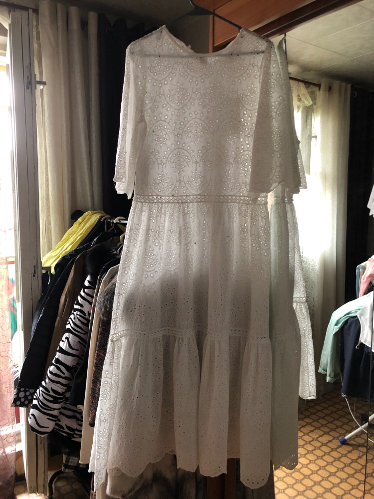 Hollow Out Dress Summer Oversize Big Hem Elegant Beach Dress Female With Spaghetti Strap Dresses Sweet Clothes photo review