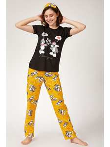 Happiness ist. Women Hair Straped Printed Knitted Pajamas Set EC00018