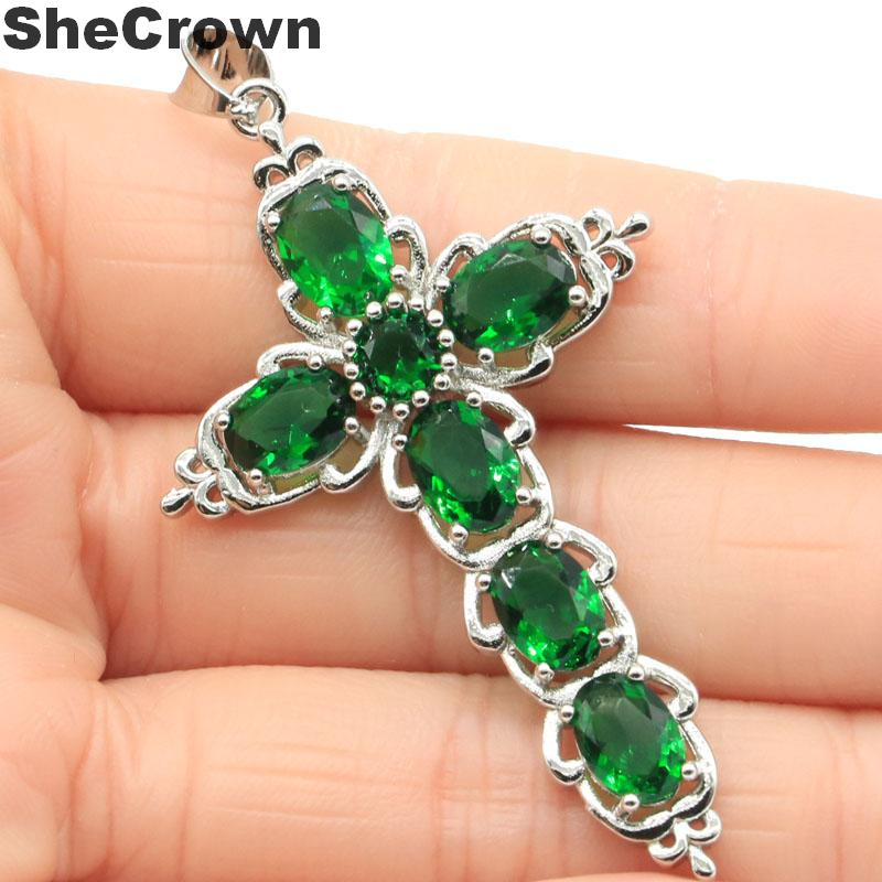 61x34mm Classic Long Cross Created Green Emerald Rhodolite Garnet Silver Pendant