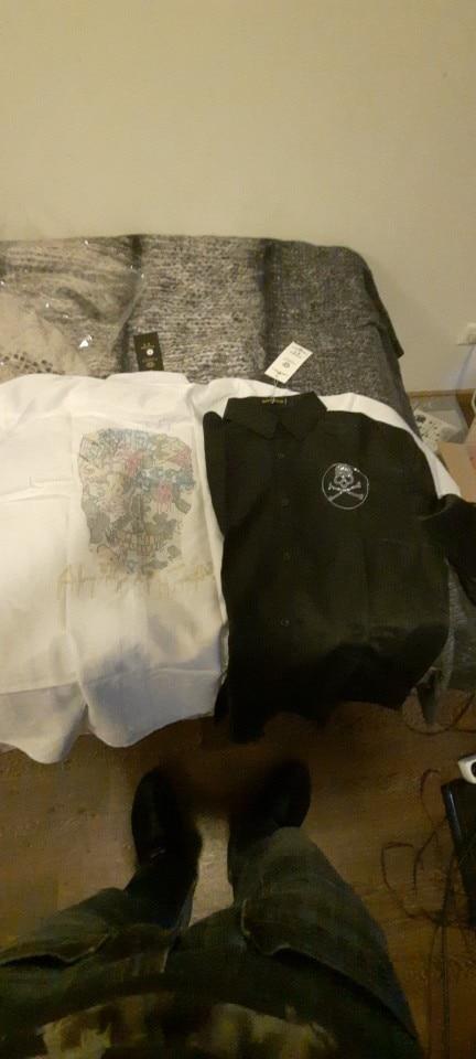 Men Rhinestone Skull Shirt Male High Quality Long Sleeve Hot Drill Shirts Casual Man Clothes Dress Shirts