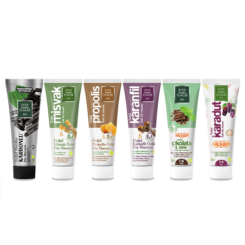 Vegan Natural Toothpaste Tester Set 7,5ML x 6 Piece Oral Hygiene Eyup Sabri Tuncer Turkish Brand %100 Original