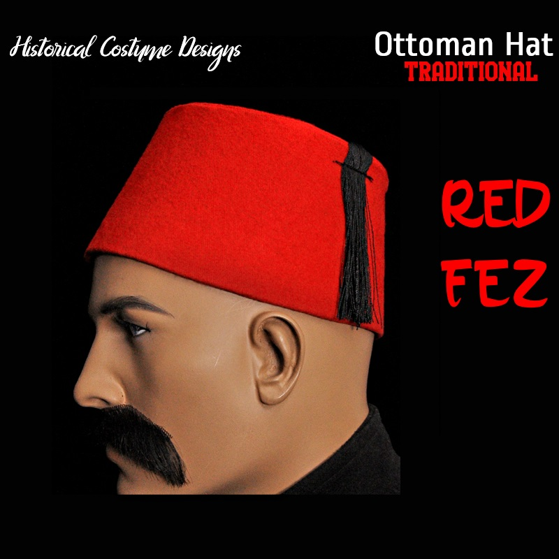 Free Shipping Traditional Ottoman Empire Red Fez Hat Osmanli Fes Historical Costume Folkloric Design Oriental Tarboosh Dropship