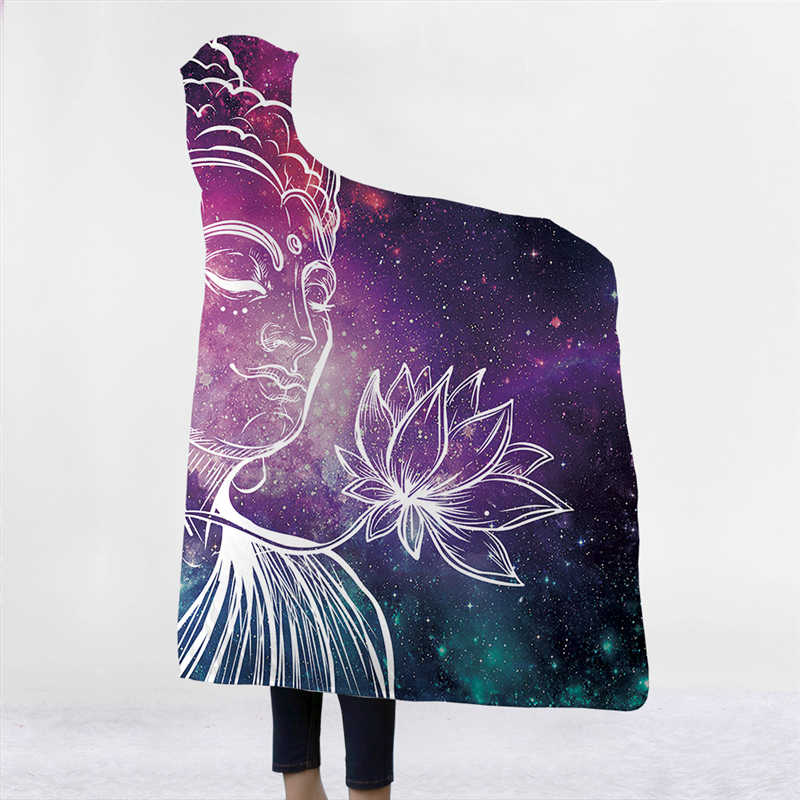 Mandala ศาสนารูปปั้นพระพุทธรูปพิมพ์ Plush Hooded ผ้าห่มสำหรับผู้ใหญ่เด็ก Warm Home Wearable Double layer ขนแกะโยนผ้าห่ม