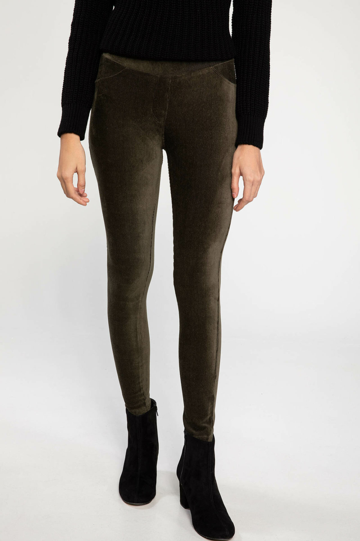 DeFacto New Female Fashion Solid Leisure Leggings Trousers For Women's Casual Slim Pants Comfort Crop Pants Ladies -K0563AZ18WN