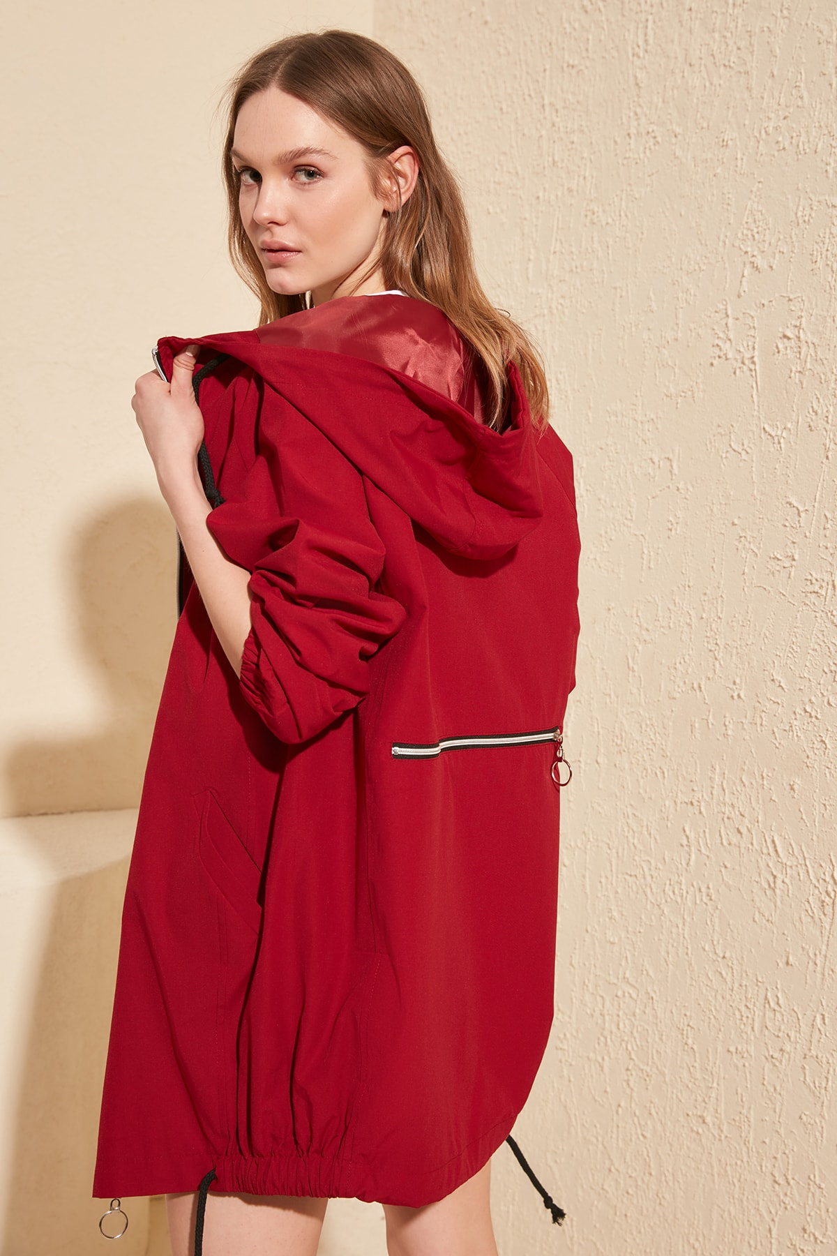Trendyol Hooded Back Zipper Detail Coat TWOSS20MO0017