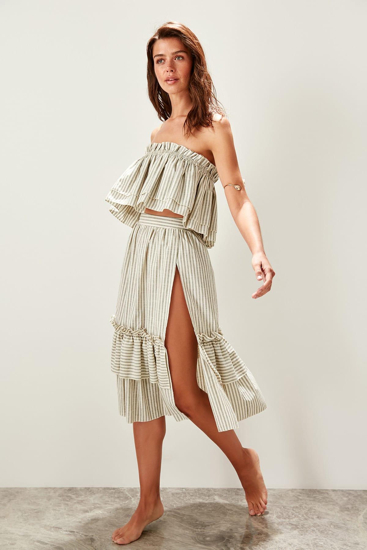 Trendyol Stripe Slits Dual Suit TBESS19XM0198