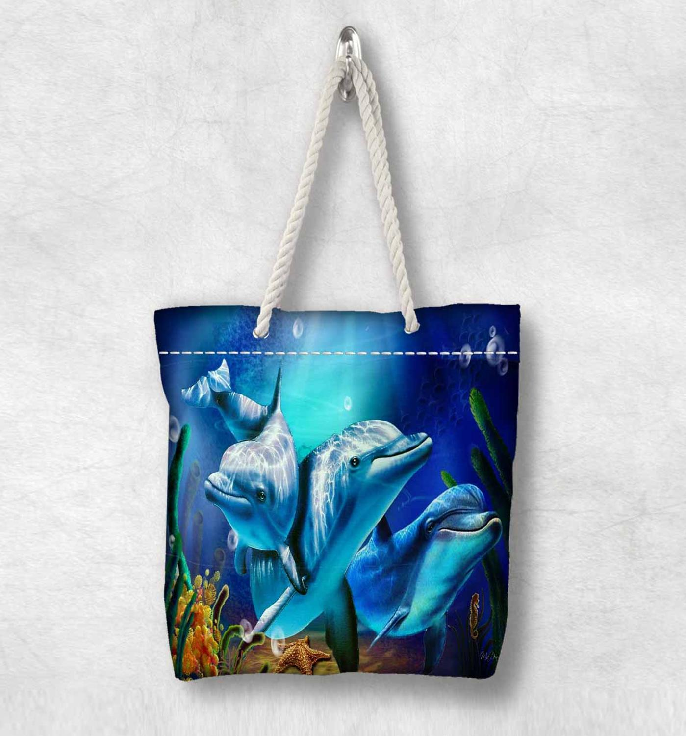 Else Blue Sea Swimming Dolphins Fish New Fashion White Rope Handle Canvas Bag Cotton Canvas Zippered Tote Bag Shoulder Bag