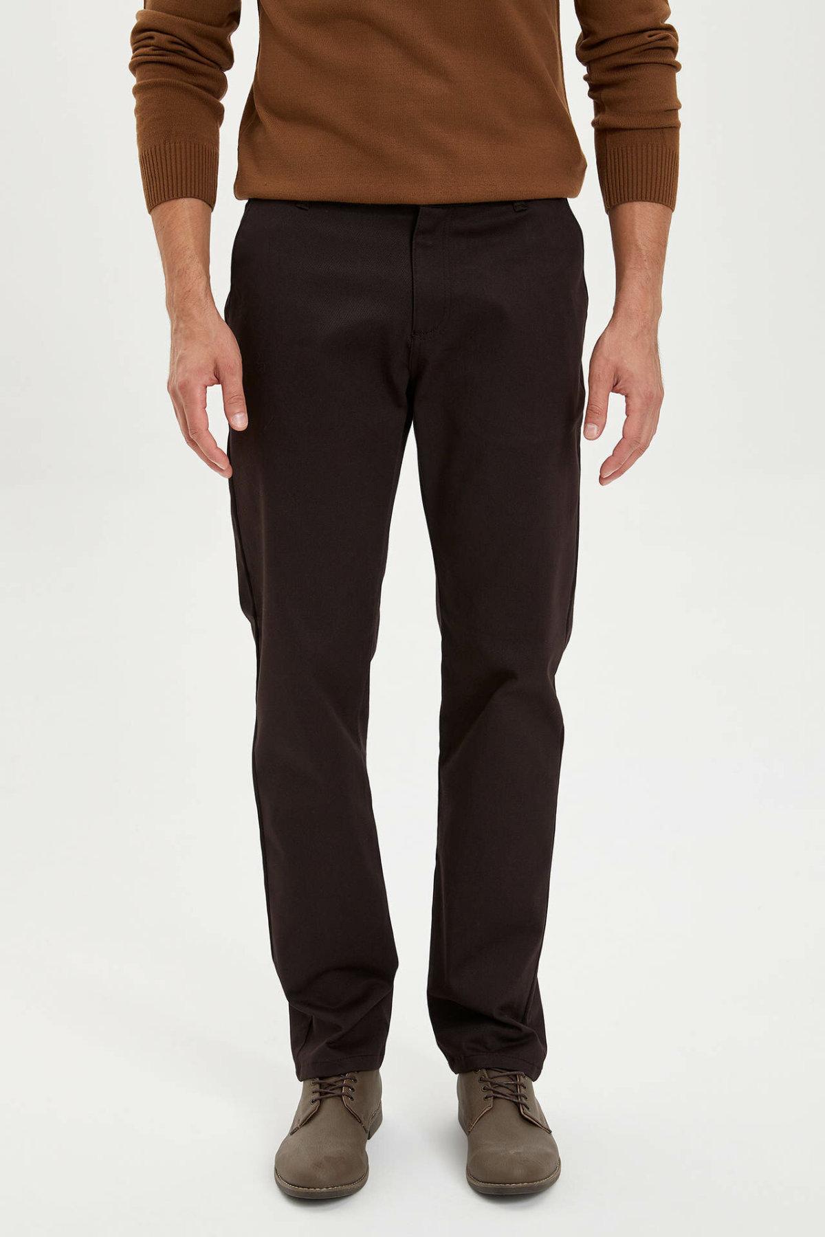 DeFacto Brand Fashion Men Cotton High Quality Pants Loose Casual Male Button Trousers Classic Pants For Men's - L2488AZ19AU