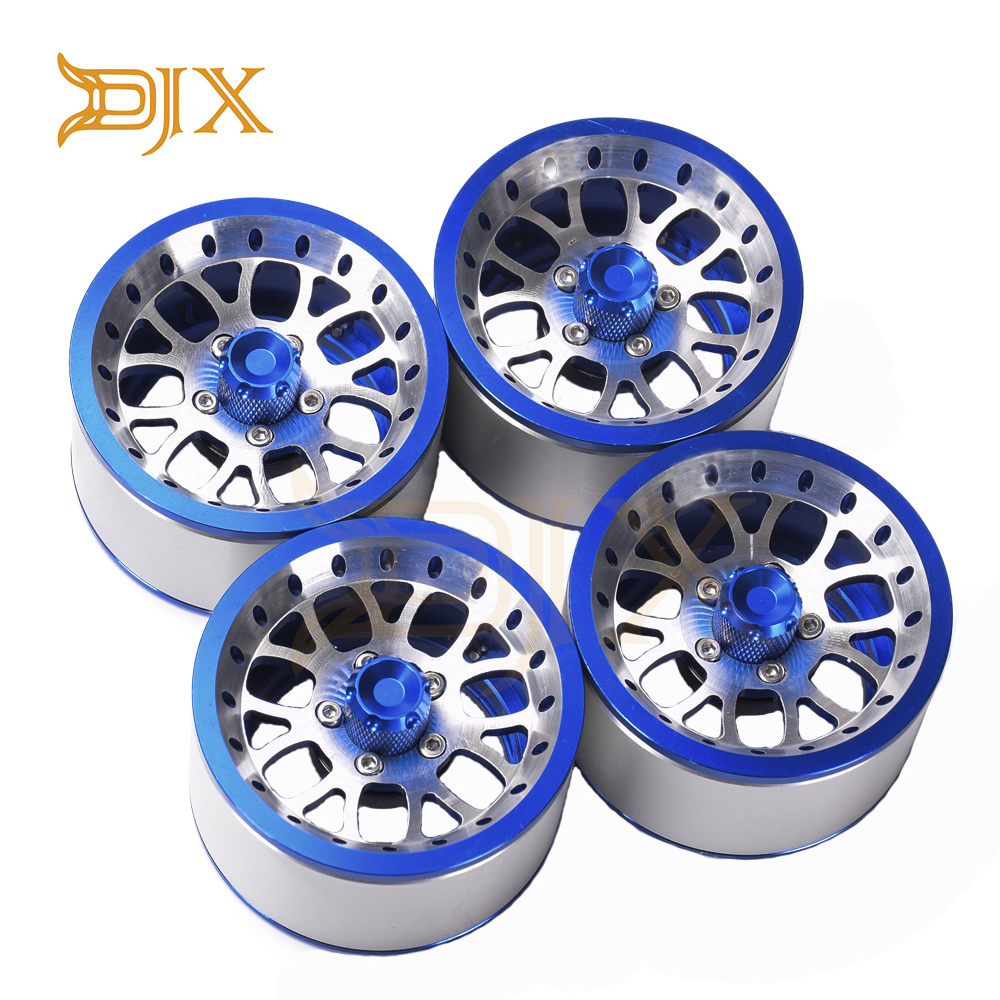 DJX 4PCS Aluminum 2.2 Beadlock Wheel Rims For 1/10 RC Crawler Axial SCX10 RR10 Wraith 90048 90018 Traxxas TRX4 TRX-6