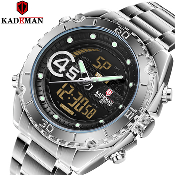 Kademan 2020 Mens Sport Watches Luxury Quartz Steel Strap Waterproof Military Digital Wrist Watch Clock Relogio Masculino K9054 yelang v1021 aviator serier t100 tritium tubes flourescent numbers 100m waterproof leather strap mens quartz wrist watch
