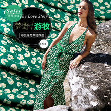 SCD125 100% Natural Silk Crepe De Chine/ Weeds Grass /Silk Fabric Mulberry Silk Thin/ Width 1.48yd Thickness 12mm/ Unit:M