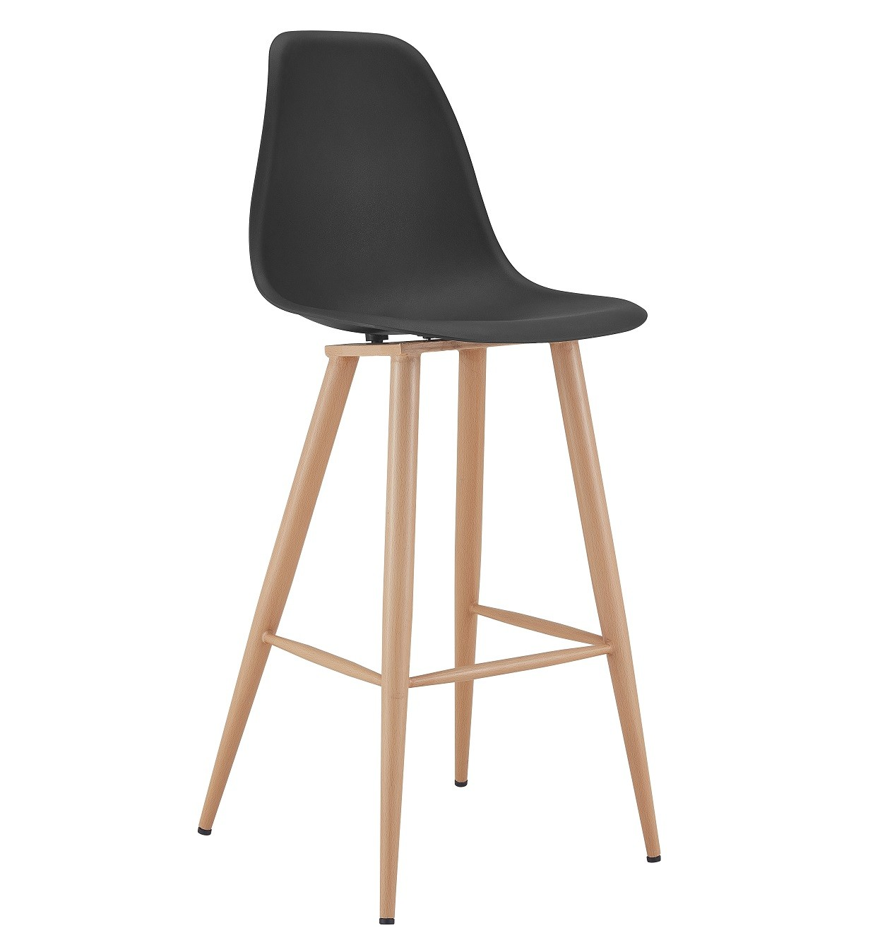 Stool CLUNY, Metal Wood Color, Black Polypropylene