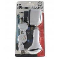 Pacote 3 em 1 carregadores para apple ipod/itouch/iphone/3g [carregador de rede + carregador de carro + cabo usb]