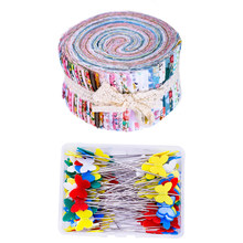 Dailylike 140Pcs Jelly Roll Fabric, Roll Up Cotton Fabric Quilting Strips, Patchwork Craft Cotton Quilting Fabric +Quilting Pins