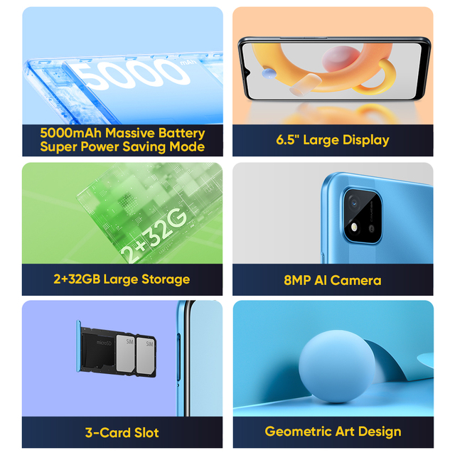"""realme C11 2021 2GB RAM 32GB ROM Global Version 5000mAh Battery 6.5"""" Large Display Support Multi Language Play Store NFC 3"""