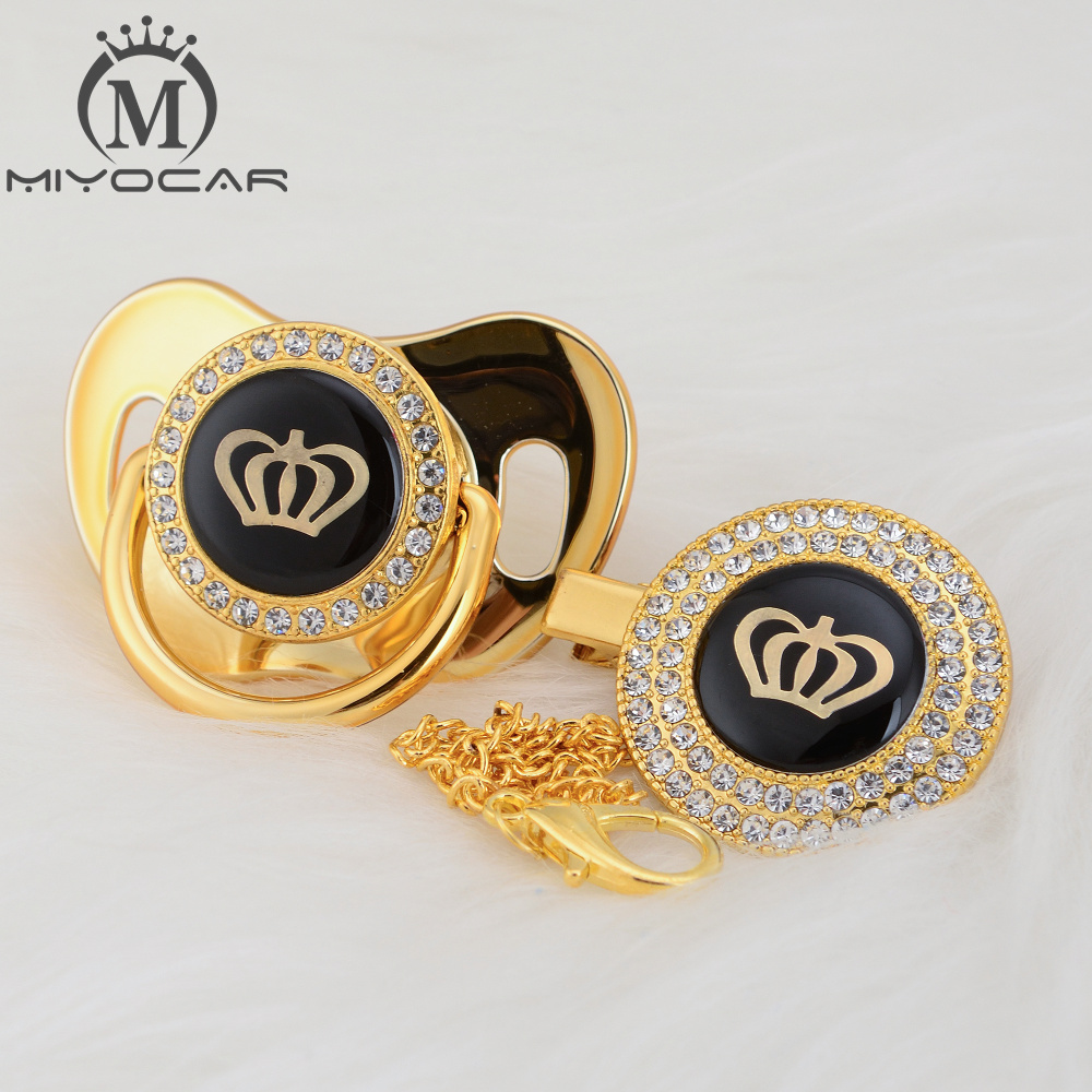 MIYOCAR Gold Silver Bling Rhinestone Crown Beautiful Bling Pacifier And Pacifier Clip BPA Free Dummy Bling Unique Design GCR2