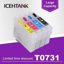 Ink-Cartridge Stylus T0734 TX220 Epson Refill Tx410-Printer ICEHTANK 4-Color for Tx209/Tx213/Tx220/..