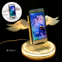 Wireless Charger Smartphone 10W QI Angel Wing Car Interior Cellphone Light Fast Charging Smartphones Phone Accessories
