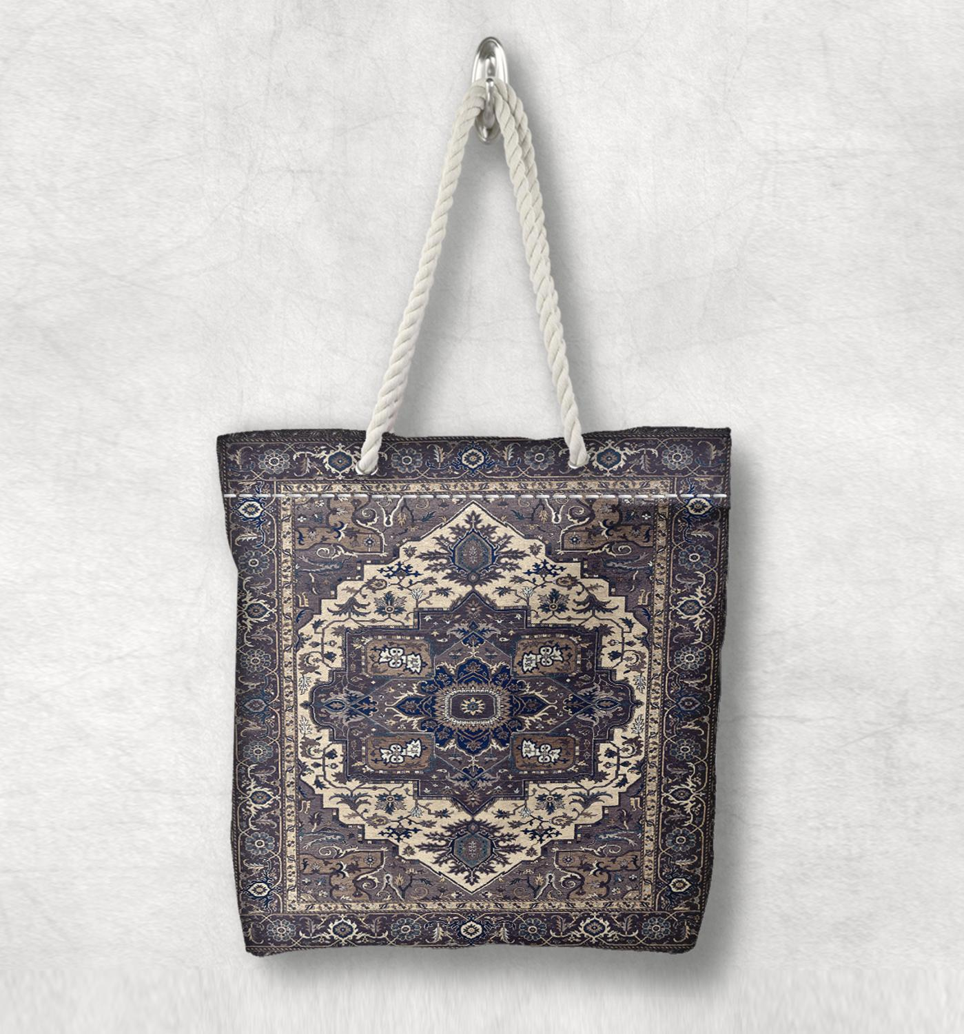 Else Brown Blue Ottoman Turkish Vintage New Fashion White Rope Handle Canvas Bag Cotton Canvas Zippered Tote Bag Shoulder Bag