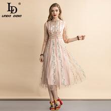 LD LINDA DELLA Summer Vintage Mesh abito da ricamo floreale mezza manica da donna Retro Holiday Overlay abiti da festa lunghi
