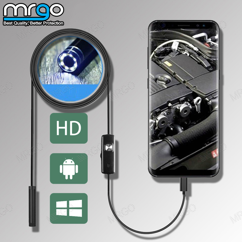 7mm 5.5mm Endoscope Camera Flexible IP67 Endoscope Waterproof Micro USB 6 LED Endoscopic Inspection for Android Micro USB Type C