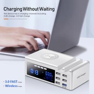 Беспроводное зарядное устройство Qi с 6 портами и ЖК дисплеем, USB 3,0, зарядное устройство с подставкой, QC 3,0, портативное быстрое зарядное устройство для xiaomi, huawei, iPhone 12 Pro Зарядные устройства для телефонов      АлиЭкспресс