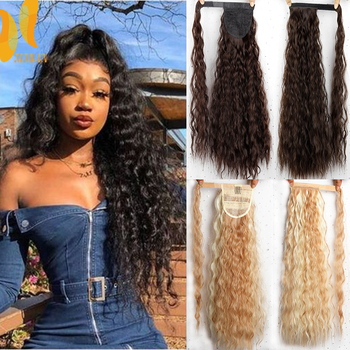 XINRAN Long Fake Hair Pieces Drawstring Ponytail Extensions Corn Curly for Women Synthetic High Temperature Fiber Extension - discount item  60% OFF Synthetic Hair