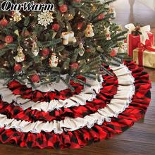OurWarm 48inch Red-Black Plaid Christmas Tree Skirt Round Carpet Party Ornaments Home Floor Mat Xmas Tree Skirt Ruffled Decor