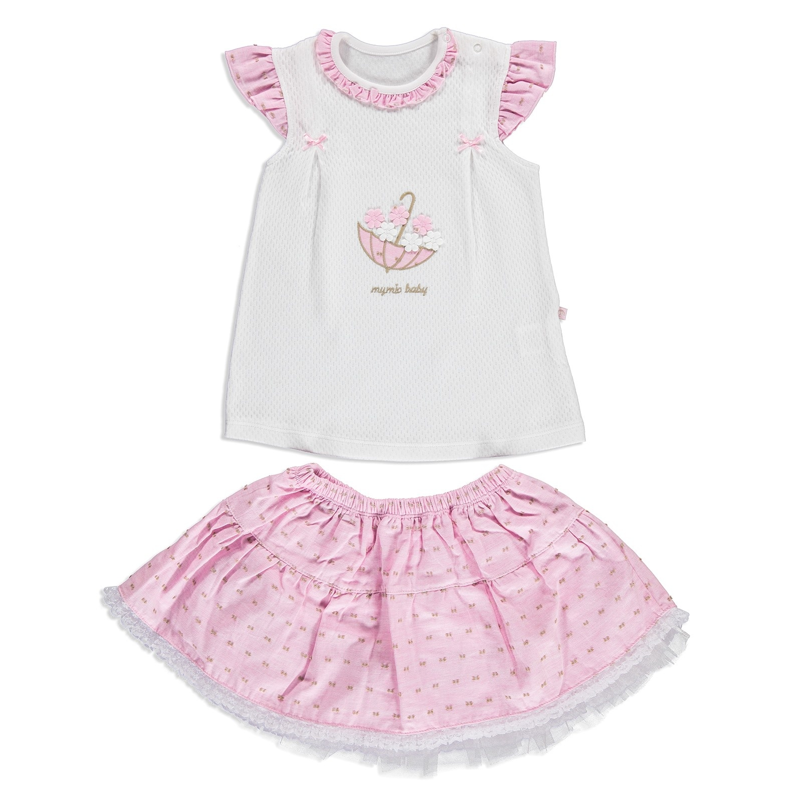 Ebebek Mymio Summer Baby Girl Flower Umbrella Poplin Short Sleeve T-shirt 2 Pcs Set