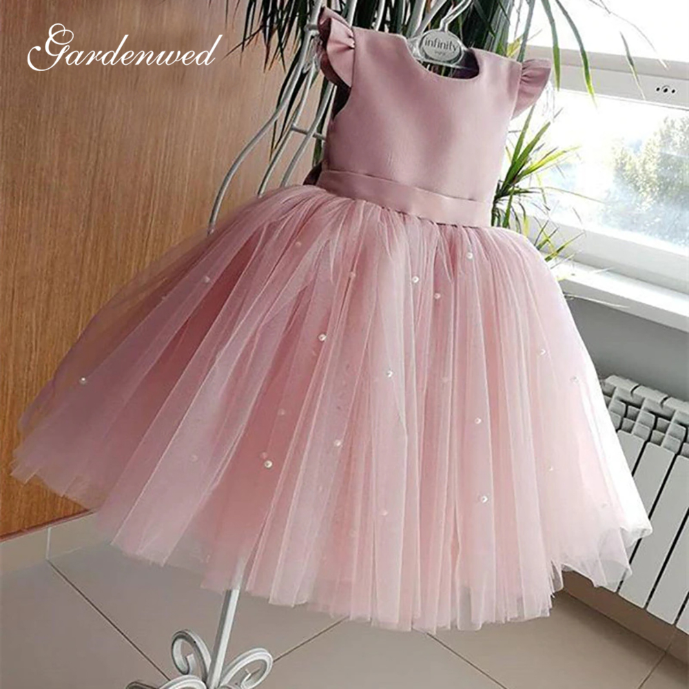 Puffy Pink Flower Girl Dresses Cap Sleeves Tulle Little Kids Ball Gown First Communion Dress For Pageant Satin Top Banquet Gown