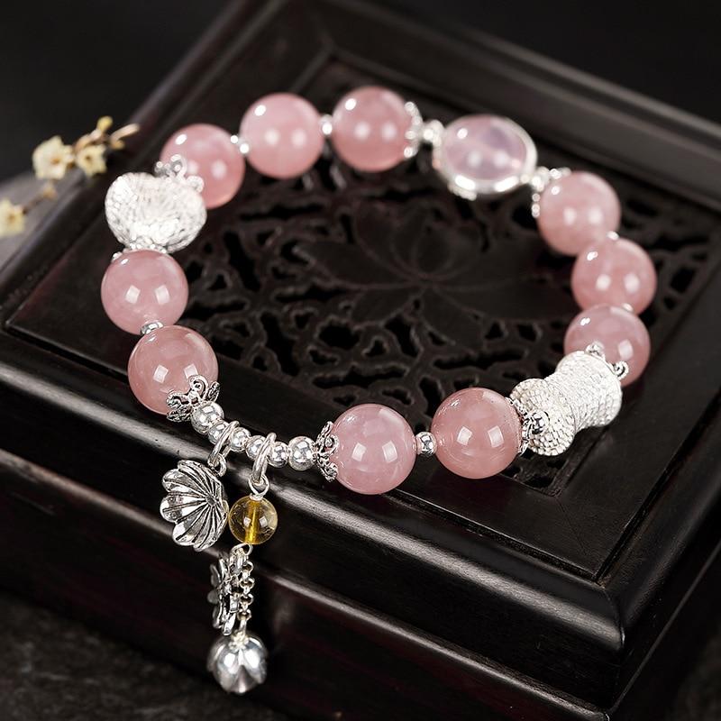 2019 jinwateryu S925 pur argent cristal bracelet amour lotus main chaîne de mode simple bonne chance main ornements pour les femmes