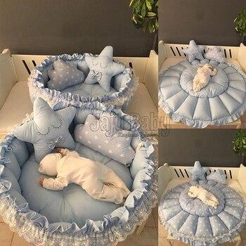 Jaju Baby Blue Star Design Retractable Play Mat Baby Nest