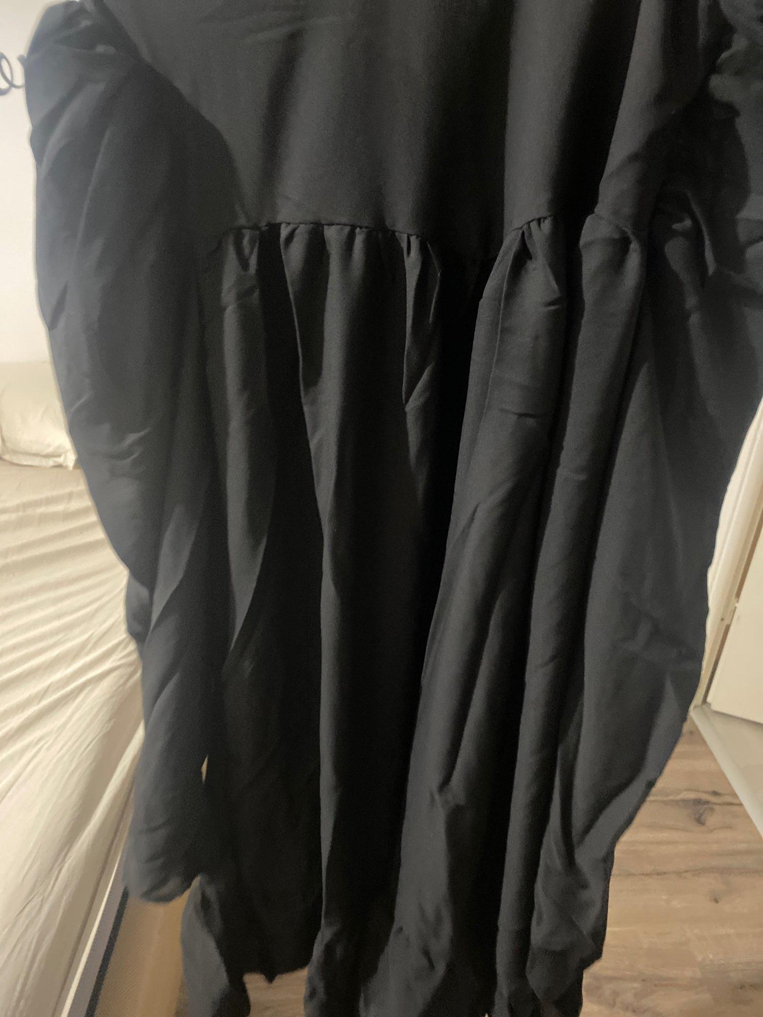 Hot 2019 autumn new fashion women's temperament commuter puff sleeve small high collar natural A word knee Chiffon dress reviews №1 239550
