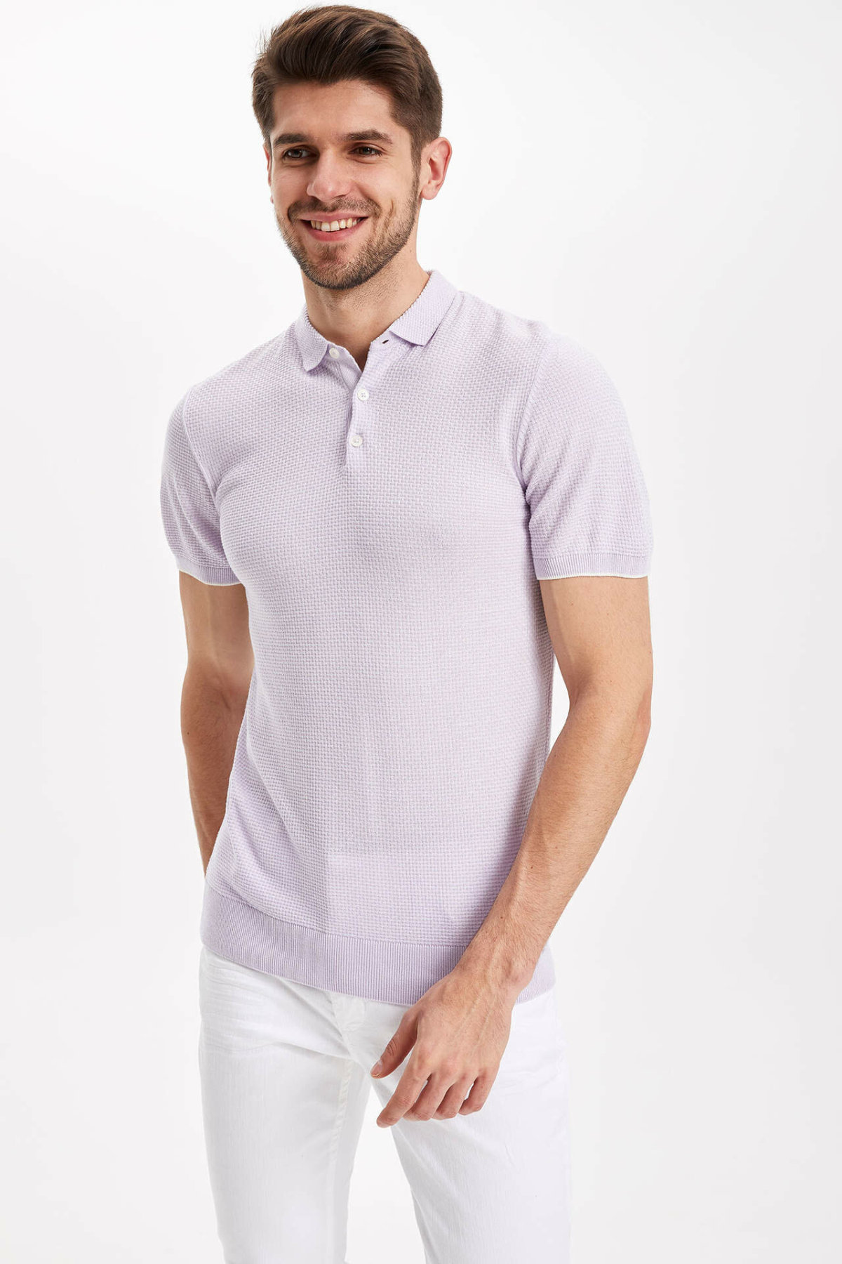 DeFacto Men Summer Short Sleeve Casual Top Tees Solid Color White Cotton Pullover Shirts-I5897AZ18SM