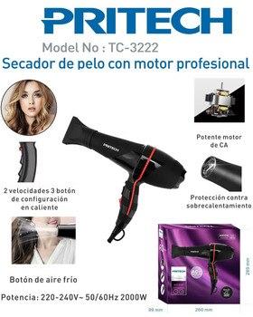 Secador de pelo profesional y fuerte viento y secador de pelo profesional y secador de salón... soplador de martillo 2200W Negro