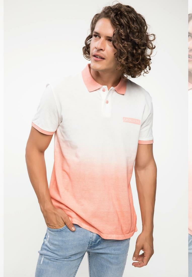 DeFacto Men Summer Gradient Top Tees White Pink Male Polo Shirts Short Sleeve Knitted Polo Shirt Men Cloth I8765AZ18HSRD42-I8765