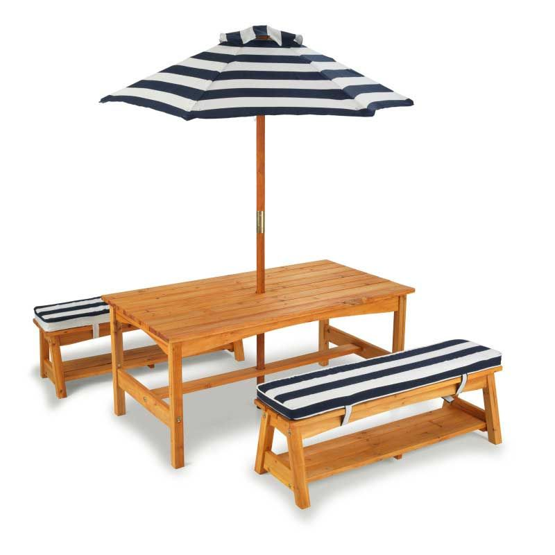 Children Tables KidKraft  Table With Benches And An Umbrella (blue And White Stripe) Children's Furniture For Kids Children's Table Children's Table With High Chair Children's Play Set Bench Furniture Set Desk