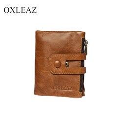 Мужской кожаный кошелек с двумя молниями OXLEAZ OX2059