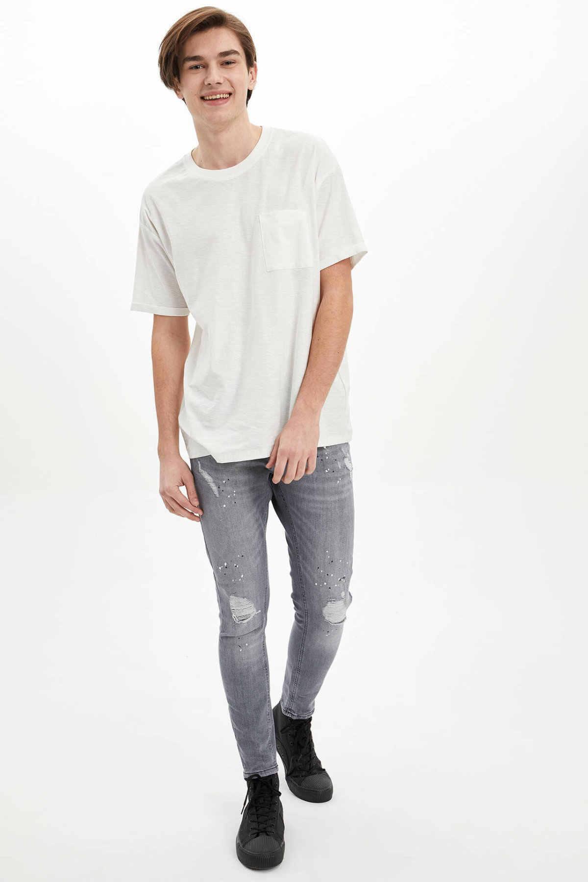 DeFacto męskie jasnoszare dżinsy męskie Casual sprane dżinsy męskie stylowe zgrywanie otwory Denim dna mężczyźni Trousers-N5014AZ20SP