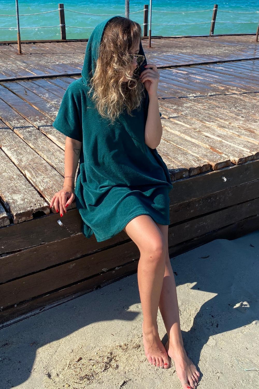 Temperate Rossa Intimo Women Green Pancho Beach Towel & Surf Towel & Changing Towel Bathrobe Rib304 Quell Summer Thirst