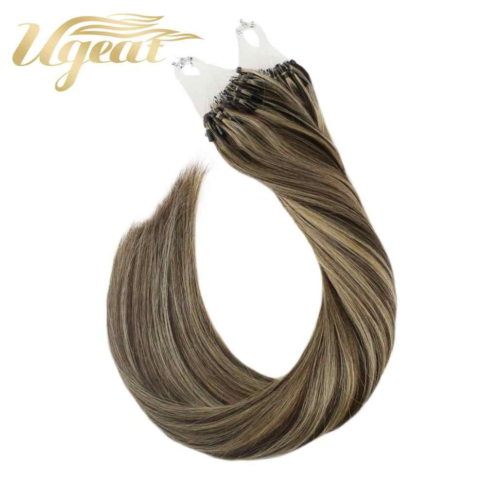 Micro Bead Hair Extensions Michine Remy Human Hair Straight 14-24inch 1g/strand Micro Ring Hair Extensions