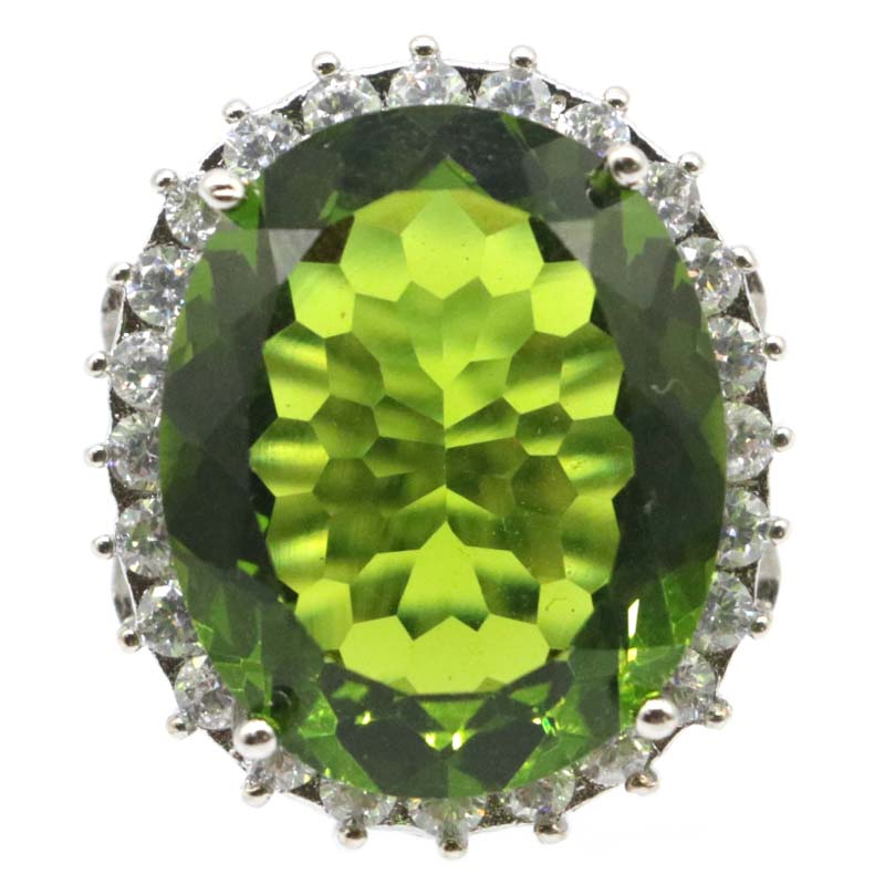 27x23mm 2020 SheCrown Big Oval Gemstone 22x18mm Created Green Peridot CZ Gift For Woman's Silver Rings