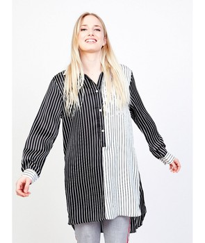 L & M EVA BICOLOR STRIPES Shirts long BLOUSE woman blouse women stamped womenswear long sleeve women blouses фото