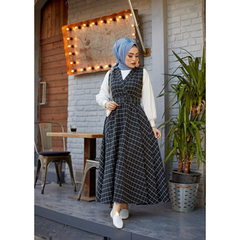 Muslim Woman's Dress Turkish Clothes For Women Muslim Robe Garment Hijab European Clothing Abaya Turkey Moroccan tagine autumn image