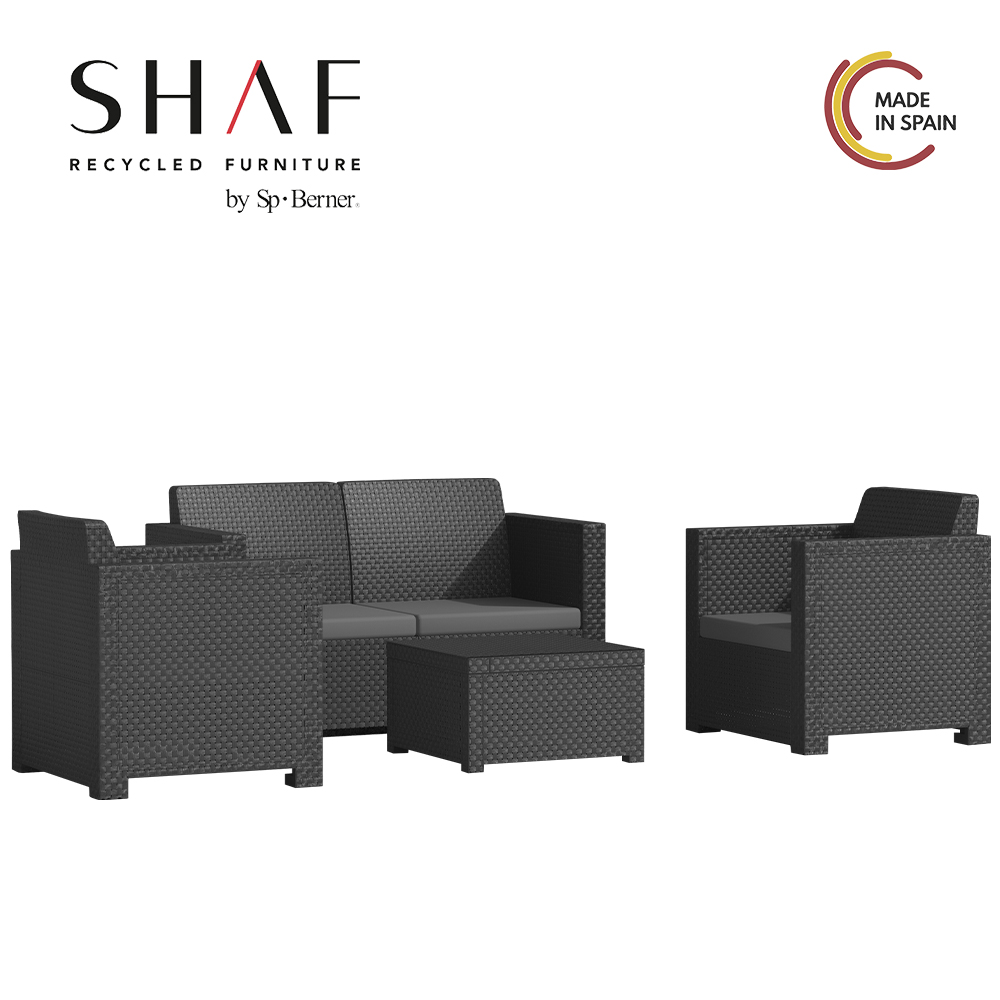 SHAF - Set EVO Comfort In Color Anthracite-Ideal For Thy Terrace Garden Set Any Interior Space
