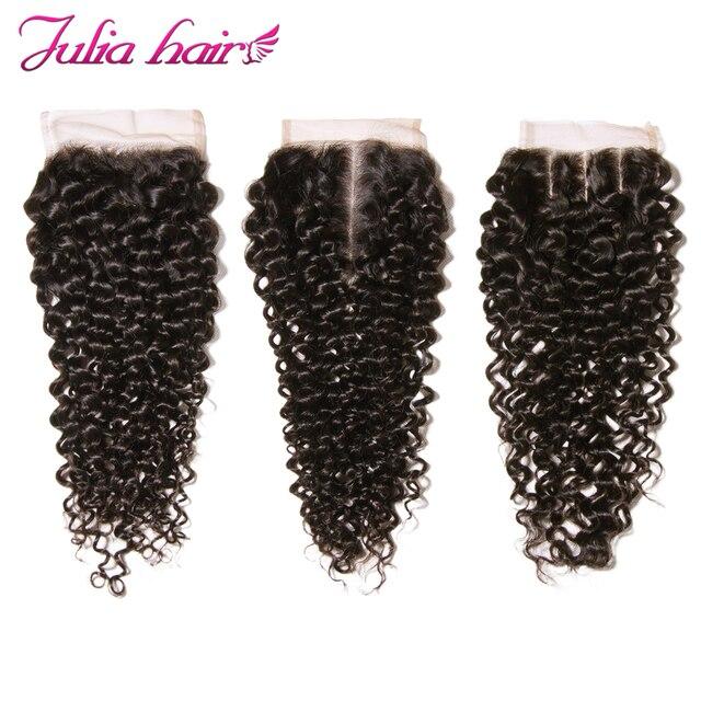 Ali Julia malezyjski kręcone zamknięcie koronki darmo/Middle/trzy część 150% gęstość Natural Color Remy ludzki włos 10 cali do 20 cali