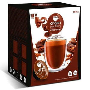 CHOCOLATE, 16 compatible Sensations origin capsules Dolce Gusto
